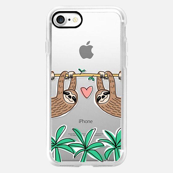 Sloth Couple - Tropical Animal - Love - Pink Heart -