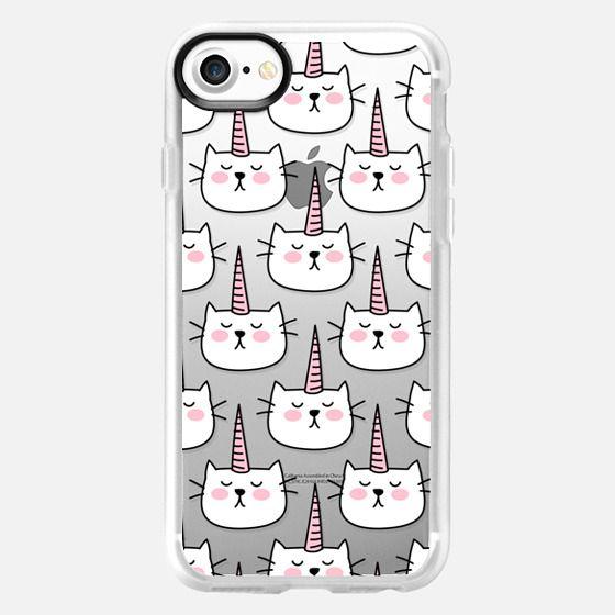 Caticorn Cat Unicorn Pattern - White Pink Black - Transparent - Snap Case