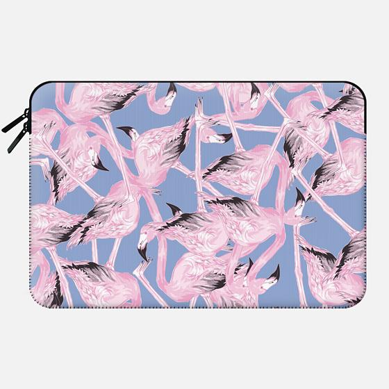 Flamingo Mash On Serenity Blue - Macbook Sleeve